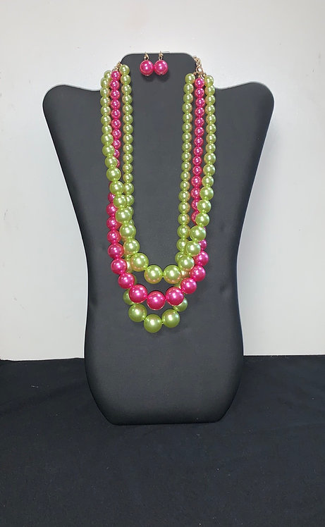 3 Strand Pink & Green Pearl Necklace Set
