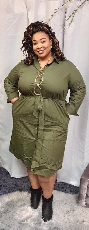 Army Green Shirt Dress