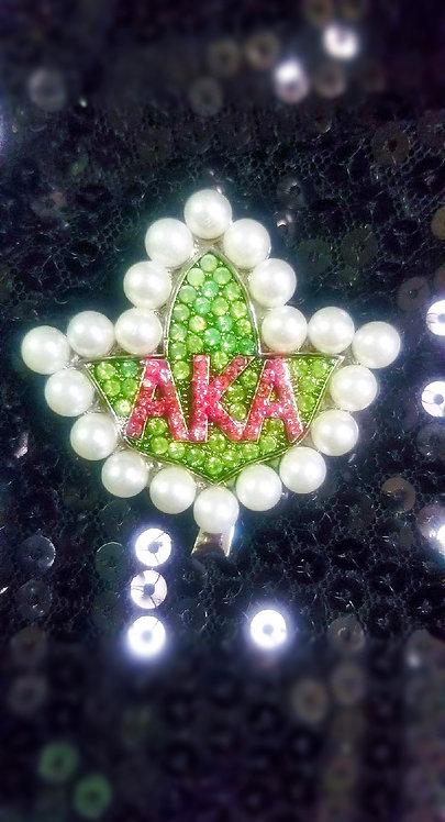 AKA Ivy Leaf w/Pearls Brooch