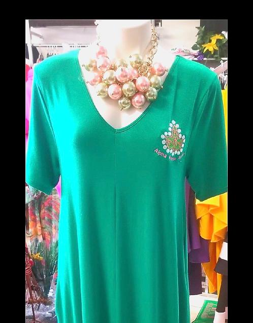 V-Neck Maxi Dress w/20 Pearls