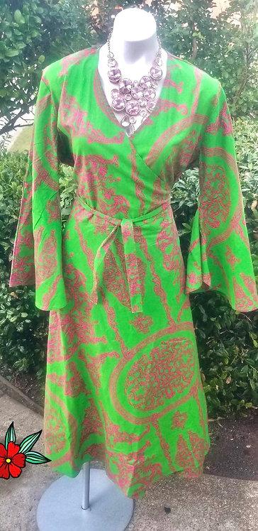 Pink & Green Wrap Dress