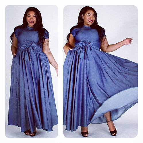 Denim Maxi Dress w/Sash