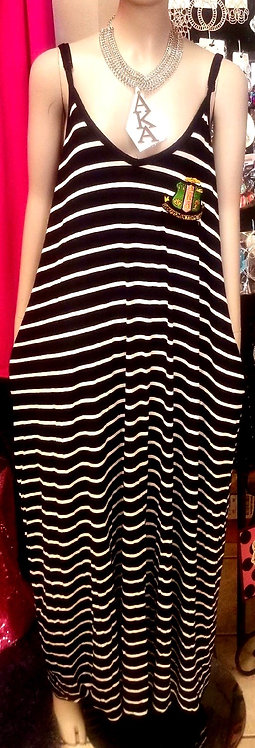 Stripe Jumper Dress w/Embroided Shield