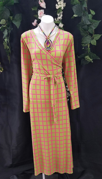 Wrap Checkmate Dress-Pink/Green