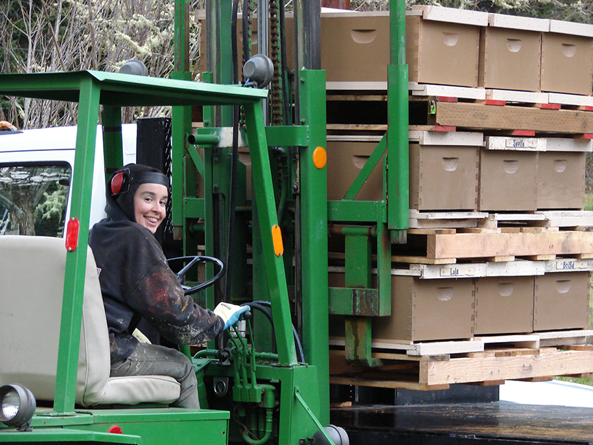 Woman on a forklift!