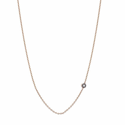 Kismet by Milka 14ct rose gold seed solitaire diamond chain necklace
