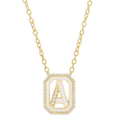 Colette 18ct yellow gold and diamond 'A' initial necklace