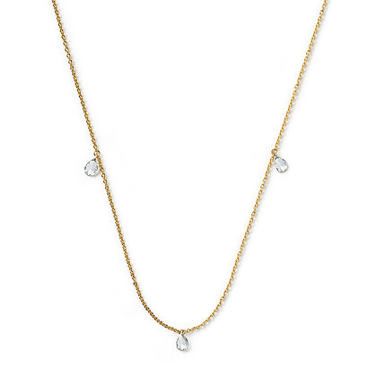 The Alkemistry 18ct yellow gold three pear rose cut diamond necklace
