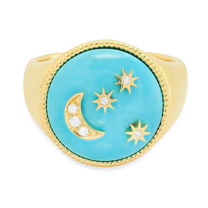 Colette 18ct yellow gold, turquoise moon and star diamond pinky ring