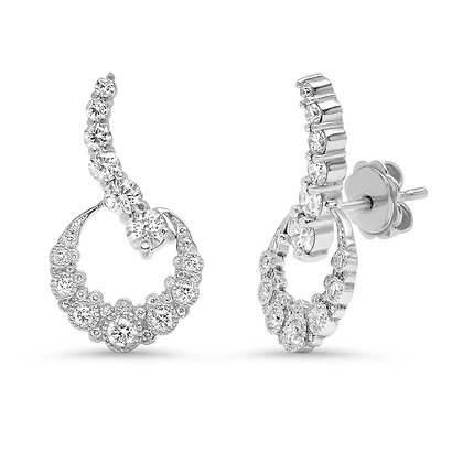 Colette 18ct white gold and diamond crescent moon ear climbers (pair)