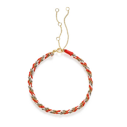 18ct gold Kumachi bracelet with coral, white and grey silk cord