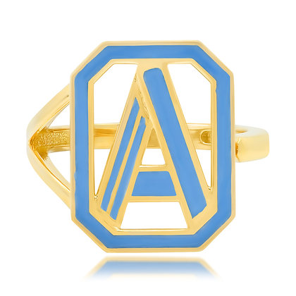 Colette 18ct yellow gold and diamond 'A' initial ring