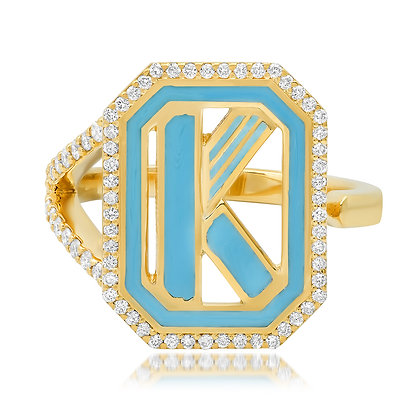 Colette 18ct yellow gold and diamond 'K' initial ring