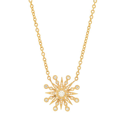 Colette 18ct yellow gold and diamond starburst necklace