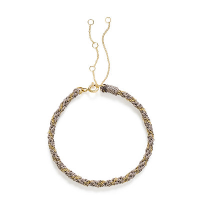 18ct gold Kumachi bracelet with grey silk cord