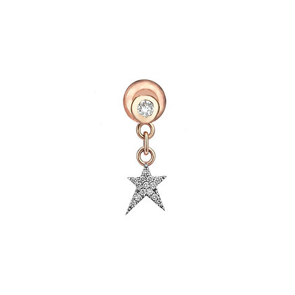Kismet by Milka 14ct rose gold and diamond star drop earring (single)