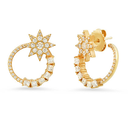 Colette 18ct yellow gold and diamond star open circle earrings (pair)