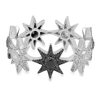 Colette 18ct white gold and white and black diamond star infinity ring