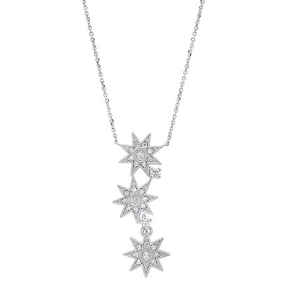 Colette 18ct white gold and diamond triple star necklace