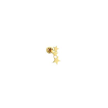 Kismet by Milka 14ct yellow gold three stars piercing (single)