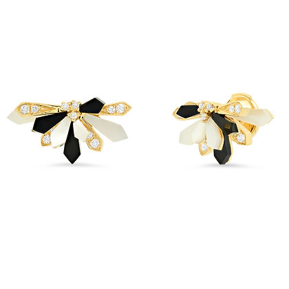Colette 18ct yellow gold, onyx, diamond and pearl penacho fan studs (pair)