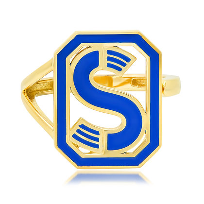 Colette 18ct yellow gold enamel 'S' initial ring