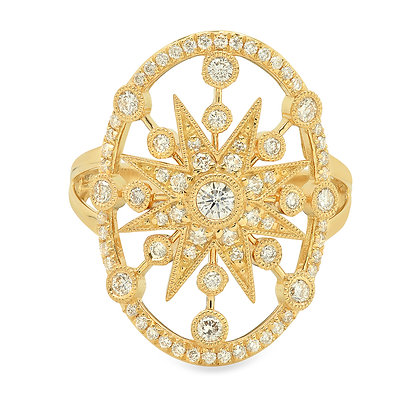 Colette 18ct yellow gold and diamond large star circle ring