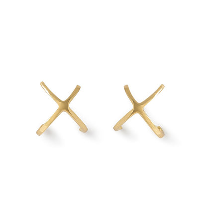 The Alkemistry 18ct yellow gold plain crossover earrings (pair)