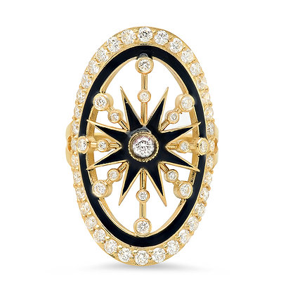 Colette 18ct yellow gold with black enamel large star circle ring