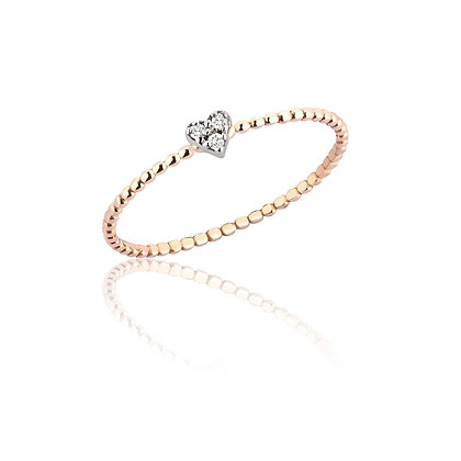 Kismet by Milka 14ct rose gold and diamond small love heart ring