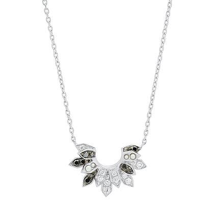 Colette 18ct white gold, black and white diamond and pearl penacho fan necklace