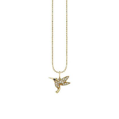 Sydney Evan 14ct gold and diamond hummingbird necklace