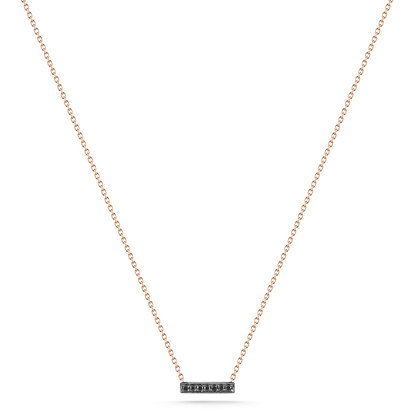 Dana Rebecca 14ct rose gold and black diamond Sylvie mini bar necklace