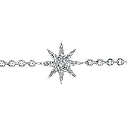 Colette 18ct white gold and diamond mini star bracelet