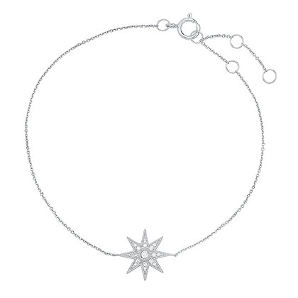 Colette 18ct white gold and diamond single star bracelet