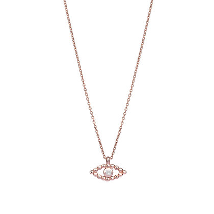 Kismet by Milka 14ct rose gold and diamond evil eye necklace