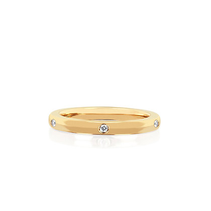 EF Collection 14ct gold and 5 diamond stack ring