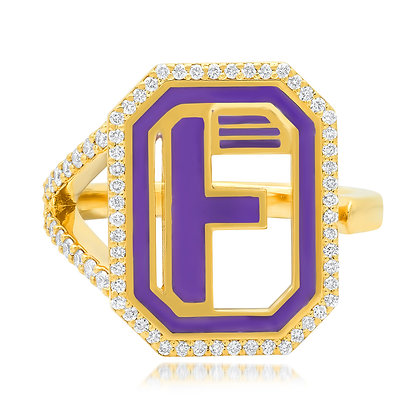Colette 18ct yellow gold and diamond 'F' initial ring