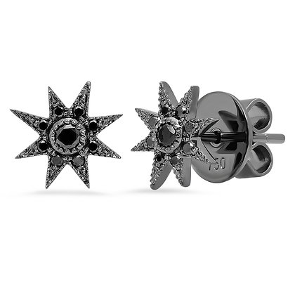 Colette 18ct black gold and diamond star studs (pair)