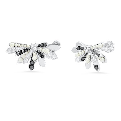 Colette 18ct white gold and black diamond and pearl penacho fan studs (pair)