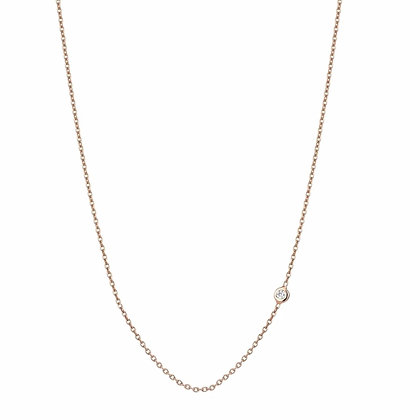 Kismet by Milka 14ct rose gold single solitaire diamond chain necklace