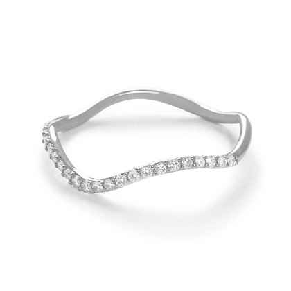 The Alkemistry 18ct white gold half eternity wave ring