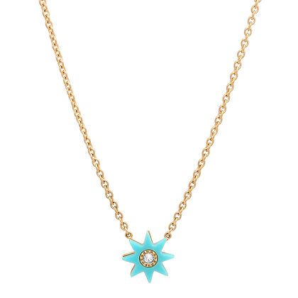 Colette 18ct yellow gold, turquoise and diamond star necklace