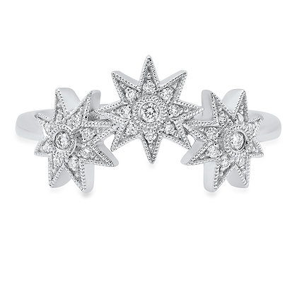 Colette 18ct white gold and diamond triple star ring