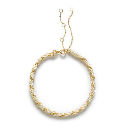 18ct gold Kumachi bracelet with white silk cord