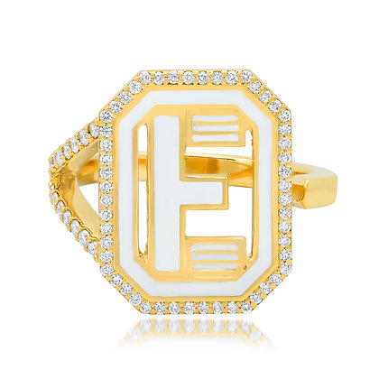 Colette 18ct yellow gold and diamond 'E' initial ring