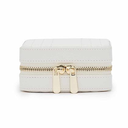 Maria square zip jewellery case - white
