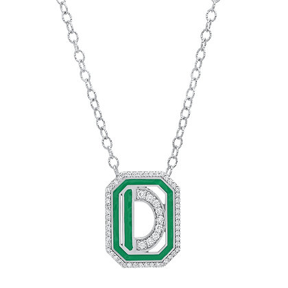 Colette 18ct white gold and diamond 'D' initial necklace