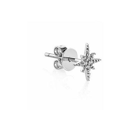 Sydney Evan 14ct white gold and diamond mini starburst stud earring (single)
