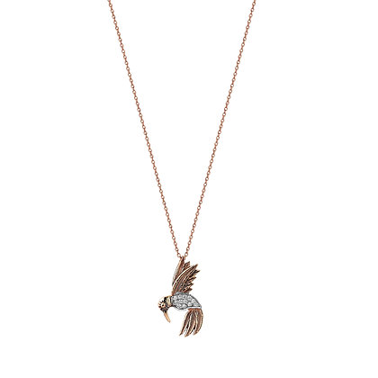 Kismet by Milka 14ct rose gold and diamond bird necklace